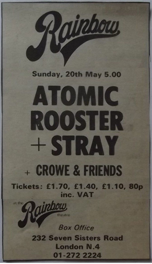 Atomic Rooster/Stray advert