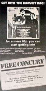Press advert for Barclay James Harvest free concert 11th Nov 1971