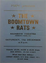 Boomtown Rats Flyer