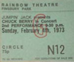 Chuck Berry Ticket 1973