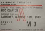 Eric Clapton Ticket Jan 1973