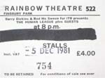 Human League ticket