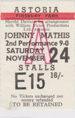 Johnny Mathis ticket