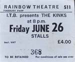 The Kinks ticket