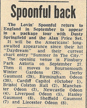 Lovin' Spoonful press cutting