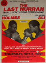 Poster for the Larry Holmes Vs Mohammad Ali world heavyweight championship fligh, live beamback from Las Vegas