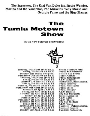 The Tamla Mowtown Tour tour dates