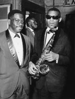 Ray Charles with Sax backstage