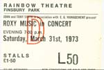 Roxy Music Ticket 1973