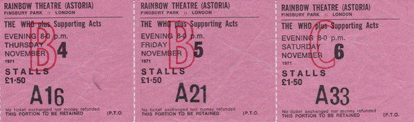 a set of Who tickets of opening shows