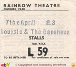 Siouxsie & The Banshees ticket
