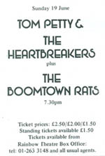 Tom Petty-Boomtown Rats advert