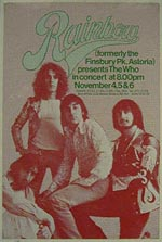 Who poster, opening concert of Rainbow Theatre  1971