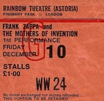 Frank Zappa & The Mothers of Invention ticket