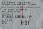 Lou Reed Ticket