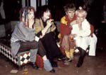 Steve Strange and friends, sitting on the foyer fountain, 14th Feb 1981