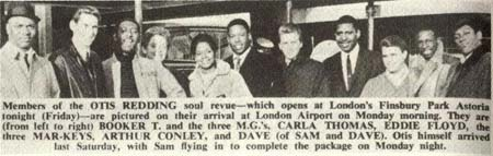 Press cutting about arrival of members of the stax Review show