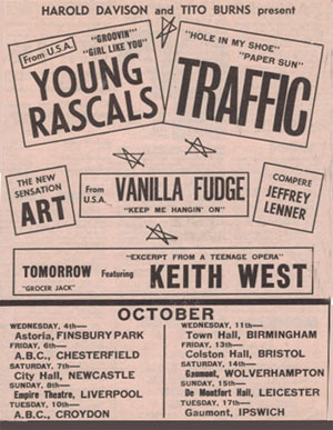 Young Rascals/Traffic tour flyer